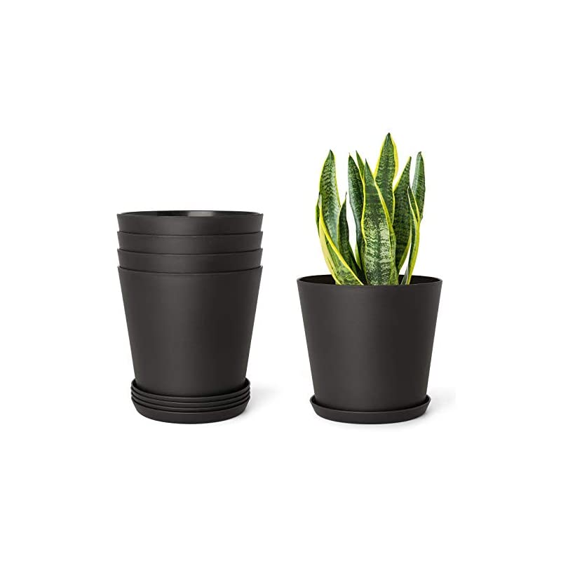"""silk flower arrangements mkono 6.5"""" plastic planters with trays, indoor set of 5 flower plant pots modern decorative gardening pot with drainage hole for all house plants, herbs, foliage plant, and seed nursery, black"""
