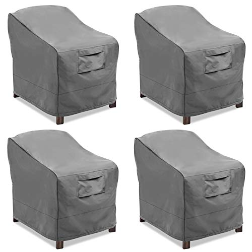 Vailge Patio Chair Covers, Lounge Deep Seat Cover, Heavy Duty and Waterproof Outdoor Lawn Patio Furniture Covers (4 Pack - Medium, Grey)