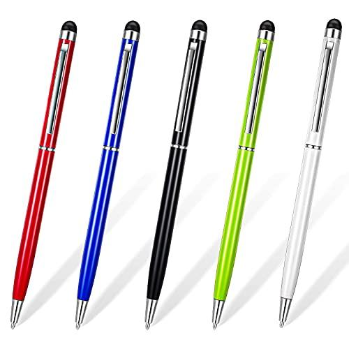 5 Penne Touch Screen Capacitive Universali Penna Stilo 2 in 1 Penne Capacitive Universali Penne Stilo da Scrittura con Clip per Prodotti Elettronici Touch, 5 Colori