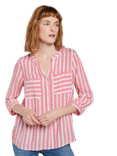 Tom Tailor 1016190 Blusas, 26019 Peach Offwhite Vertical Stripe - Juego de Mesa, 38 para Mujer