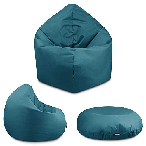 2in1 Sitzsack Bodenkissen Outdoor Sitzsäcke Indoor Beanbag in 32 Farben & 3 Größen wählbar Sitzkissen Kinder Yoga Kissen Erwachsene Schule Kindergarten (Petrol-100 cm)