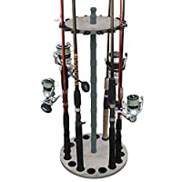 Rush Creek Creations 16 Round Fishing Rod/Pole Storage Floor Rack Barn Wood Finish - Features Traditional Wood Center Post - No Tool Assembly