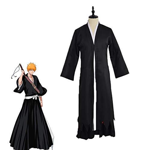 GGOODD Gevatter Tod Kurosaki Ichigo Anime Cosplay Kostüm Umhang, japanischem Kimono, schwarzen Hosen Kendo Kampfuniform Halloween Weihnachten Karneval Party,XL