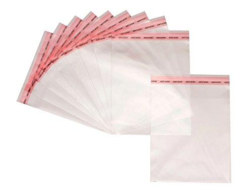 500 Flachbeutel 20x30cm Transparent Flap Selbstklebende Plastiktütchen Durchsichtige Selbstschließende Zellophantüten mit Peel & Seal Verschluss
