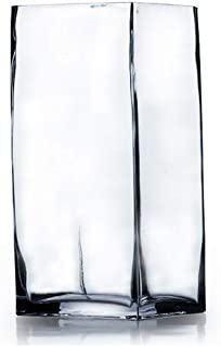WGV Clear Square Block Glass Vase, 4 by 8-Inch