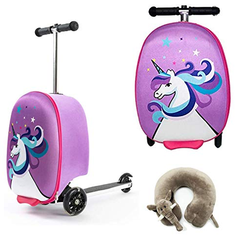 Children's Scooter | Travel case with Wheels - Suitcase Children | Purple Unicorn | Scooter with 3 Wheels - Bouncy Box 50 Kilos 40x20x25 cm + Neck Pillow Airplane