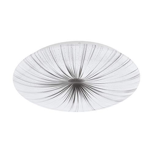 EGLO LED Deckenlampe Nieves, 1 flammige Deckenleuchte, Wandlampe mit Muster, Material: Stahl und Kunststoff, Farbe: silber, weiß, Ø: 41 cm