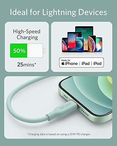 Anker Powerline III Flow, USB-C auf Lightning Ladekabel PD, kompatibel mit iPhone 12 Pro Max/12/11 Pro/X/XS/XR/8 Plus, AirPods Pro, 180cm, Apple MFi-Zertifiziert, Silikagel (in Mintgrün)
