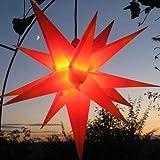 Mit LED Außenstern Stern rot mit gelben Spitzen Weihnachtsstern 55-60 cm Stern außen, mit...