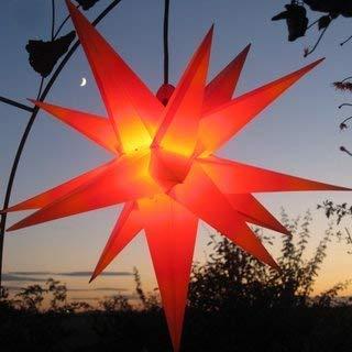 Mit LED Außenstern Stern rot mit gelben Spitzen Weihnachtsstern 55-60 cm Stern außen, mit Leuchtmittel LED (StaRt-NDL-DUH-E14-C3,5W) 104 SMD Dioden, kein störanfälliger Trafo nötig. Frost- und wetterbeständig.