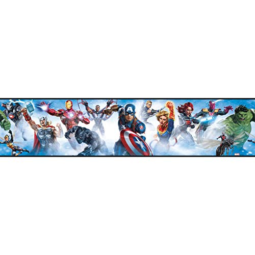 RoomMates Avengers Peel and Stick Wallpaper Border | Removable | Kids Room Decor