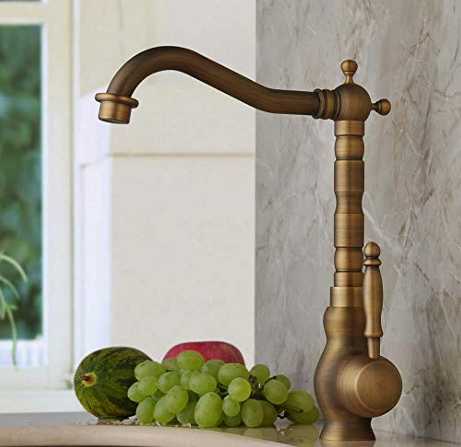 ROKTONG Kitchen Mixer Taps Antique Brass Lever Sink Taps Giraffe Basin Faucet with Swivel spout