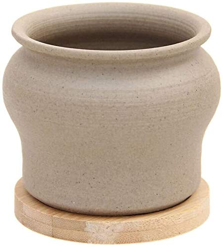 ZKDY Plant Pot Juicy Planting Pots, Potted Ceramic Creative Pots, Plain-colored Pottery Pots, Simple Hand-made Pots, Uniform Wide-mouthed Thumb Pots With Wooden Trays Plant Containers (Color : A10)