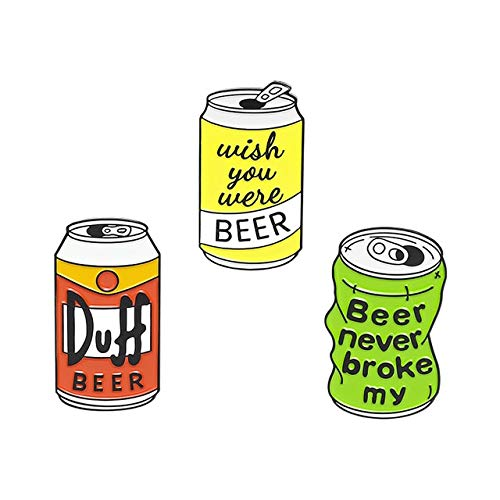Bierdose Emaille Pin Custom Duff Bier Brosche Tasche Kleidung Anstecknadel Ich wünschte, Sie wären Bier Abzeichen TV Schmuck Geschenk für Fans Freunde-Set