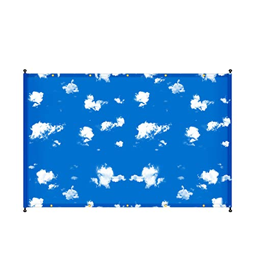 E&K 14'x14' Sun Shade Sail Waterproof Printed Pattern Shade Cover Privacy Screen Replacement Pergola Cover Tarp
