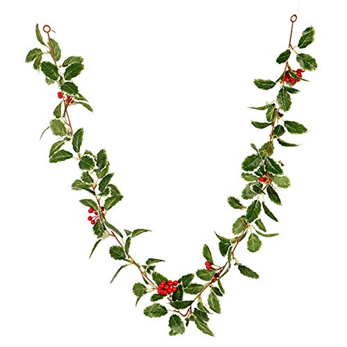 Artificial Red Berry and White Edge Holly Leaf Christmas Garland - 5.5'