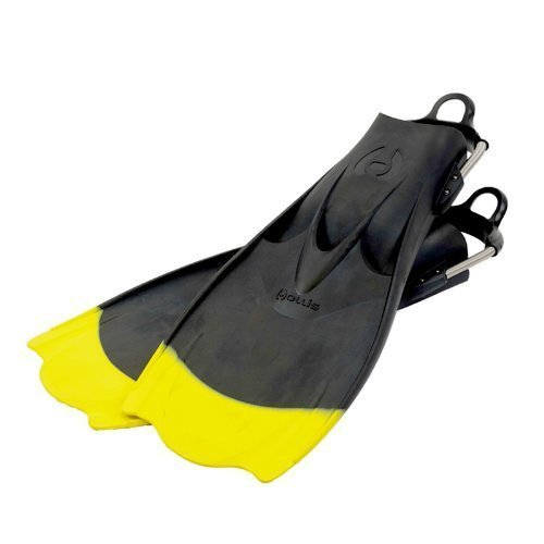 Hollis Performance F1 Technical Scuba Diving Bat Fins with Spring Straps - Black with Yellow Tip (Size 13-15/2X-Large)/LID