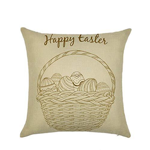 Houshelp Throw Pillows Covers Easter Egg Bunny Cushion Case Pillowcase Home Sofa Couch Square Pillowslips 45x45cm