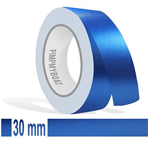 Siviwonder Zierstreifen blau metallic matt in 30 mm Breite und 10 m Länge für Auto Boot Jetski Modellbau Klebeband Aufkleber Folie Dekorstreifen
