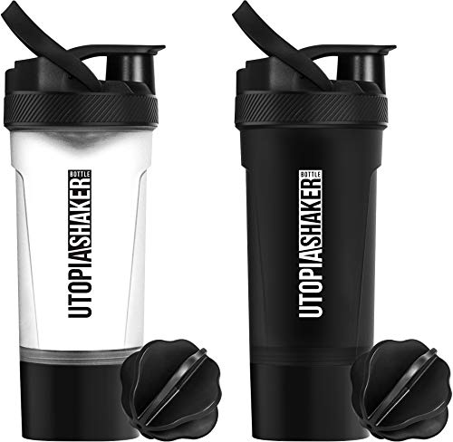 Utopia Home [2-Pack] Shaker Bottle - Fitness Sports Classic Protein Mixer Bottle with Twist and Lock Protein Box Storage (24-Oz / 700 ml) - BPA Free & Leakproof