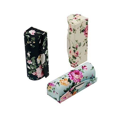 Lippenstift Box, Hanyi 3 Pcs Retro Druck Leder Lippenstift Etui mit Spiegel Geschenk