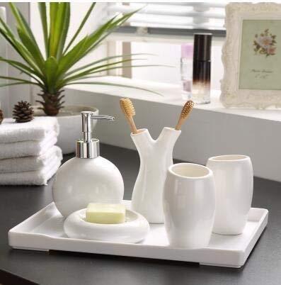 ZHQHYQHHX decorazione di nozze Cina filo bianco motivi floreali ceramica accessori da bagno porta spazzolino da denti accessori set (colore : bianco, dimensioni: libero)