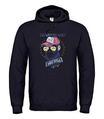 Druckerlebnis24 Hoodie - AFFE Gorilla Skateboard Sonnenbrille - Kapuzenpullover Unisex für Kinder - Junge und Mädchen