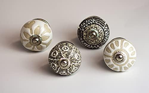 youngschwinnDESIGN - Confezione da 4 pomelli per mobili in ceramica, bianco e grigio   Diametro: 40 mm   Pomello per armadio   Viti incluse   Shabby Chic   Vintage