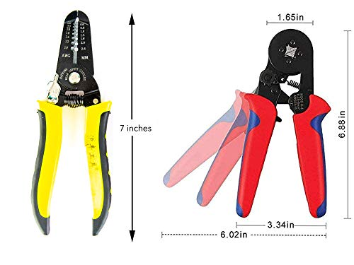KOTTO Ferrule Wire Terminal Block Crimping Tool Plier Tool Kit Set with 860 Ferrules, Wire cutter, Storage Bag, UL Color AWG Guidelines, Industry Standard Coded Ferrules