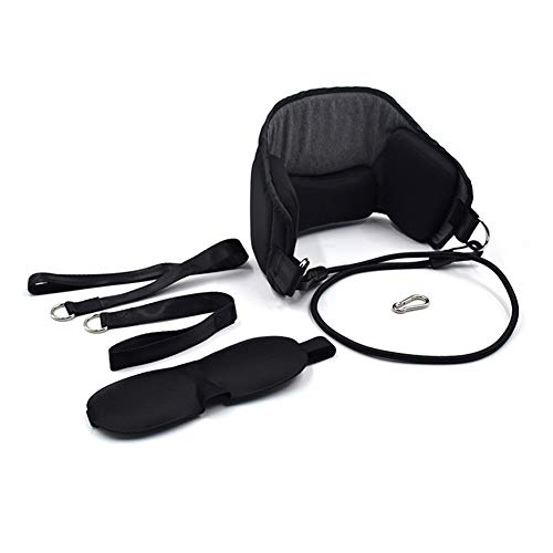 Xincsiwang Neck Relaxing Hammock, Cervical Spine Soothing Stretcher, Head Pillow (With Blindfold)(Black)