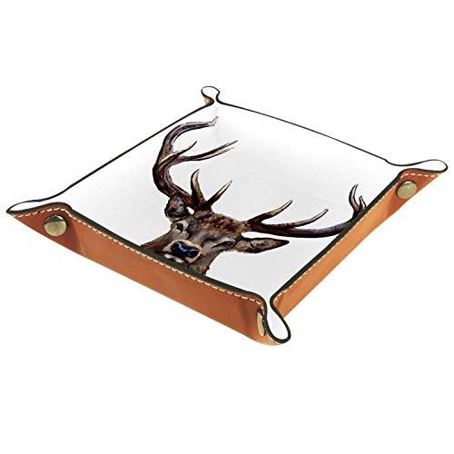MUMIMI Caja de almacenamiento de joyería para anillos, pendientes, caja de joyería, soporte para anillos, cabeza de ciervo, pintura digital