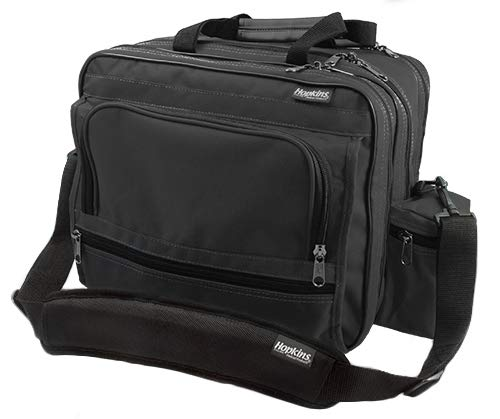 Hopkins Medical Products Mark V Shoulder Bag, HIPAA Compliant Lockable Zippers, Adjustable Straps, Reinforced Bottom, Fold-Down Compartment, 13 Inch x 11.25 Inch x 7.5 Inch, Black