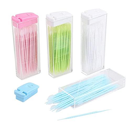 50 pcs Cepillos Interdentales | Herramienta de Limpieza de dientes de doble cabeza | Herramienta de Limpieza Dental de plástico | Con estuche de almacenamiento | Color aleatorio