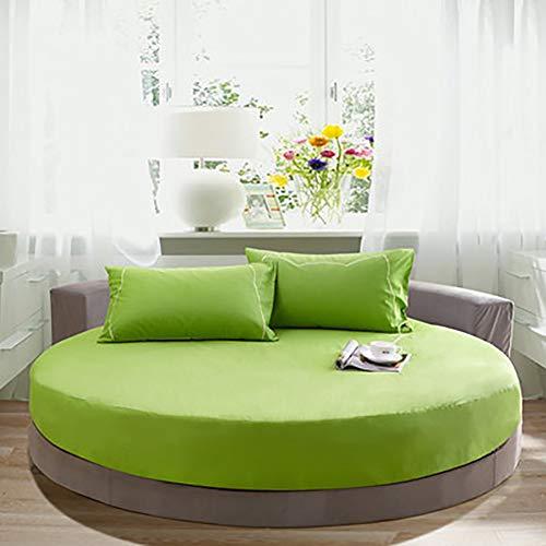 SHEETS&BED Letto Rotondo Lenzuolo con Angoli, Copertura di Base Colore Puro 100% Cotone Hotel Letto Rotondo Materasso Copertura Lenzuolo Piano + 25cm-Verde diametro220cm(87inch)