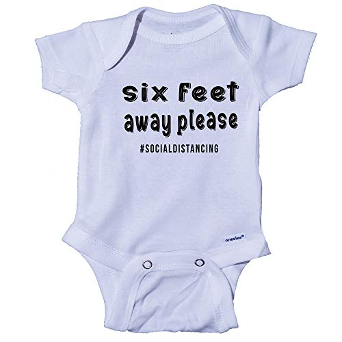 Ink Trendz Social Distancing 6 Feet Away Baby Infant to Toddler One-Piece Bodysuit Onesie (6-9 Months) White
