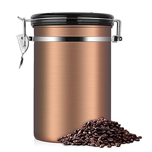 eecoo Kaffeedose, Kaffeedose Luftdicht, Kaffeedose Edelstahl, Kaffeebehälter Luftdichte Aromadose Vorratsdose Edelstahldose Vakuum Dose für Kaffeebohnen, Pulver, Tee, Nüsse, Kakao(Goldene, 1.8 Liter)