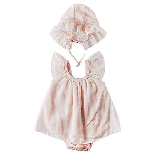 エルフ ベビー(Fairy Baby) ベビードレス セレモニードレス 帽子 女の子 新生児 ロンパース 退院 フォーマル 夏 ハット付き お宮参り 出産祝い size 66 (ピンク)