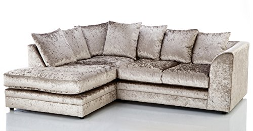 Candice Crushed Velvet 3 Seater Fabric Corner Sofa Mink Small Chaise (Left Hand Facing)
