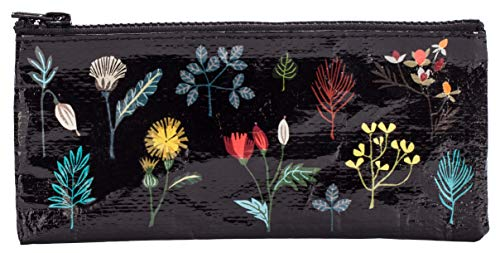 Blue Q Pencil Case, Plant Study. This botanical beauty has a hefty zipper, sturdy and easy-to-wipe-clean, made from 95% recycled material, 4.25'h x 8.5'w
