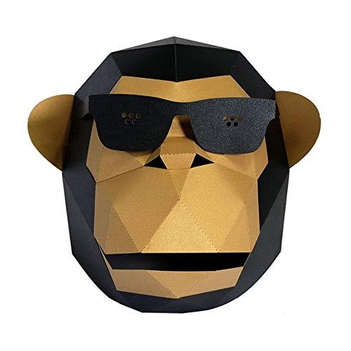 CHOUDOUFU Estatua Escultura Adorno Mscara De Papel 3D, Gafas De Sol, Gorila, Disfraz De Animal, Cosplay, Manualidades De Papel, Modelo, Mscara, Navidad, Halloween, Fiesta De Graduacin, Regalo