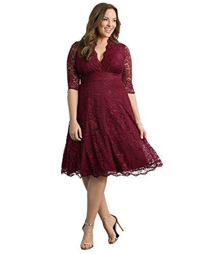 Kiyonna Women's Plus Size Special Occasion Mademoiselle Lace Cocktail Dress - 4X - Burgundy