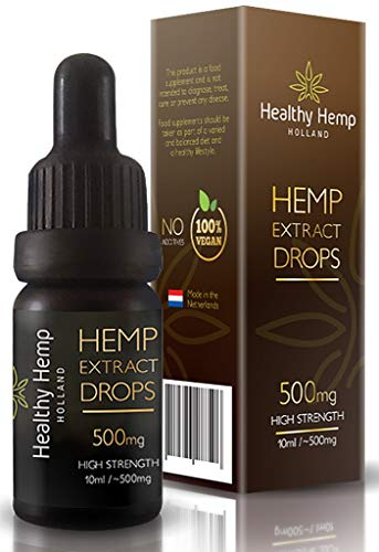Healthy Hemp Holland, High Strength Hemp Oil Extract drops From the Netherlands (10 ml bottle, 500mg)