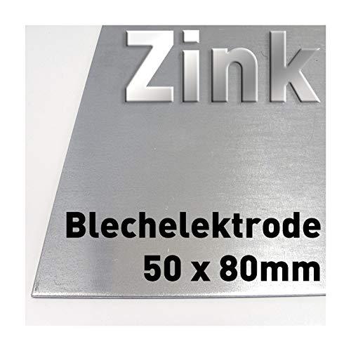 Zink-Blech 80 x 50 mm, Reinzink, als Anode/Elektrode (8 x 5 cm) für Zinkelektrolyt/Galvanik, Verzinken, Plattenelektrode