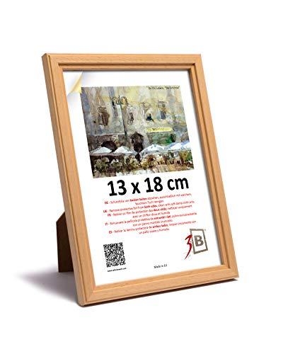 3B Cornice Jena - Natura - 13x18 - cm Cornice in Legno, Foto, da Parete e da Tavolo con Vetro Poliestere (Foglio di plastica)