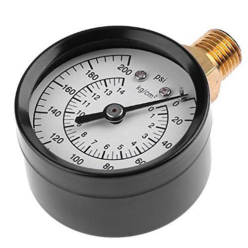 LeftSuper Medidor de presión portátil de 1/4 Pulgadas Npt montado en el Lado 0-200Psi, medidor de presión del compresor de Aire, probador de presión hidráulica