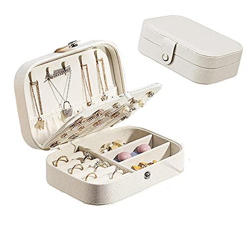 Kudiro Joyero organizador de pendientes, collar, anillo de franela, doble caja organizadora de joyas, color blanco