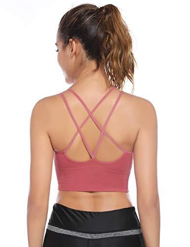 Sykooria Sujetador de Yoga Sujetador Deportivo para Mujer Sujetador de Entrenamiento Almohadillas Extraíbles Bra Deporte Sin Costuras para Gimnasio Yoga Bailar Corriendo Fitness