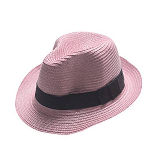 Boolavard Damen Breiter Krempe Stroh Panama Hut Fedora Beach Sun Hut UPF50 + (Rosa)