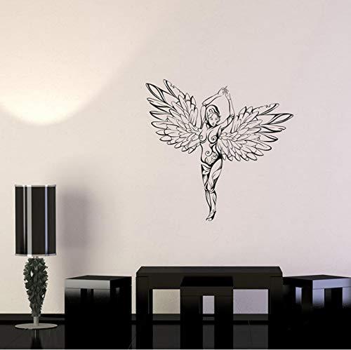 Hermosa niña adornos alas ángel mujer fantasía vinilotatuajes depared calcomanías de pared decoración para el hogar arte mural58x60 cm