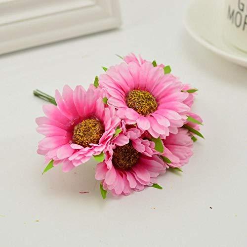 6st handgemaakte gerbera mode huis tuin bruid diy krans materiaal bruiloft banket decoratie kunstbloem schaar kroon, roze